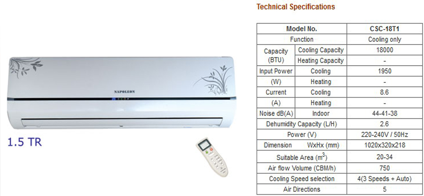 Buy online napoleon splite ac dealers delhi ncr splite ac for 1 5 ton window ac price in delhi